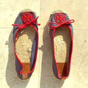 Tory Burch Espadrilles. Blue w red piping.